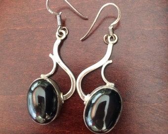 Onyx 925 silver earrings