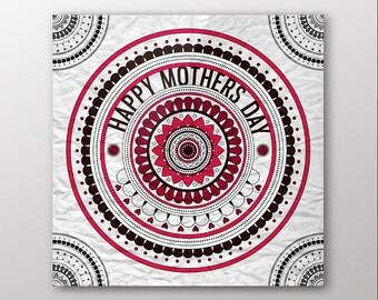 Red Mandala Mothers Day Gift Card