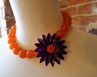 Orange Jade Statement Necklace with Vintage Purple Flower Brooch