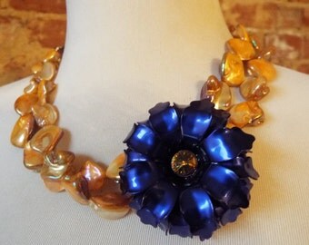Multistrand Clemson Tigers Inspired Orange Mother of Pearl Beads with w/ Blue Purple and Orange Vintage Flower Brooch