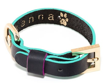 Shane Colorblock small eco-friendly leather dog collar