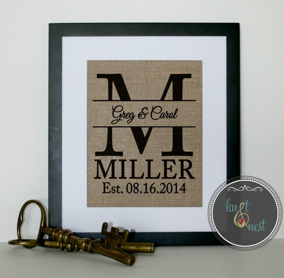 Name In Lights Wall Decor : Wedding Gift, Wedding Shower Gift, Houseware, Burlap Wall Decor for newlyweds, New Last Name ...