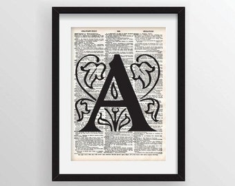 Single Ornate Letter Initial or Monogram - Vintage Dictionary Page Print - Choose you Own Custom Ink Color
