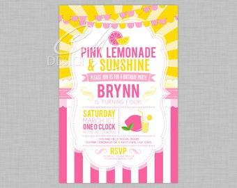 Pink Lemonade Birthday Invitation