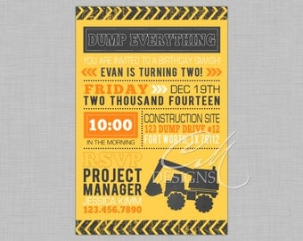Construction Zone Birthday Invitation