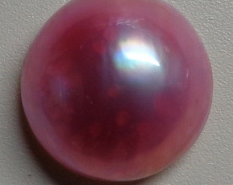 Light Rose Mabe Pearl Cabochon - 15mm to 16mm round  backed with Mother of Pearl - High Grade