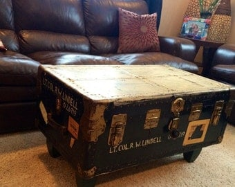 Military chest coffee table