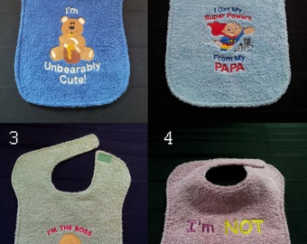 Fun, Custom, Absorbent Baby Bibs (Large) - Chose your style and size