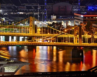 Three Sisters at night, Pittsburgh, Pennsylvania, Bridges, Stadiums, Downtown.