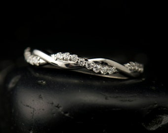 Twisted Diamond Stacking Band in White Gold, Pave Set 1/2 Eternity with Tight Twist Design, Wedding Band, Custom Options, Hailey Rylie 2