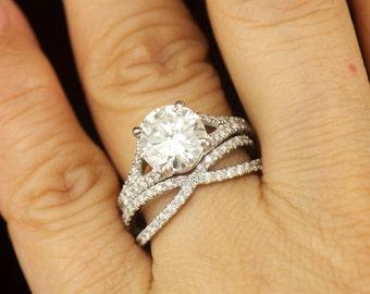 Forever Brilliant Moissanite And Diamond Engagement Ring Criss Cross Wedding Band 9mm
