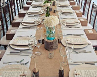Charming 120 X 15 Inch Burlap Table Runners Fit 8ft Long