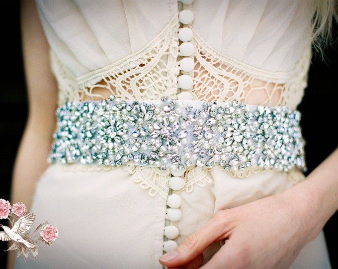 Bridal Sash/ Bridal Belt - Rhinestone Sash/ Rhinestone Belt - Vintage Wedding Accessories - Rhinestones and Pearls Collection - Style BB 144