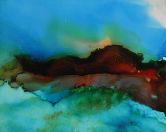 Abstract landscape ink painting original 5x7 on yupo alcohol ink art # 147