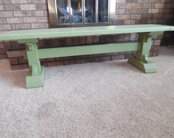 Painted Pedestal Bench