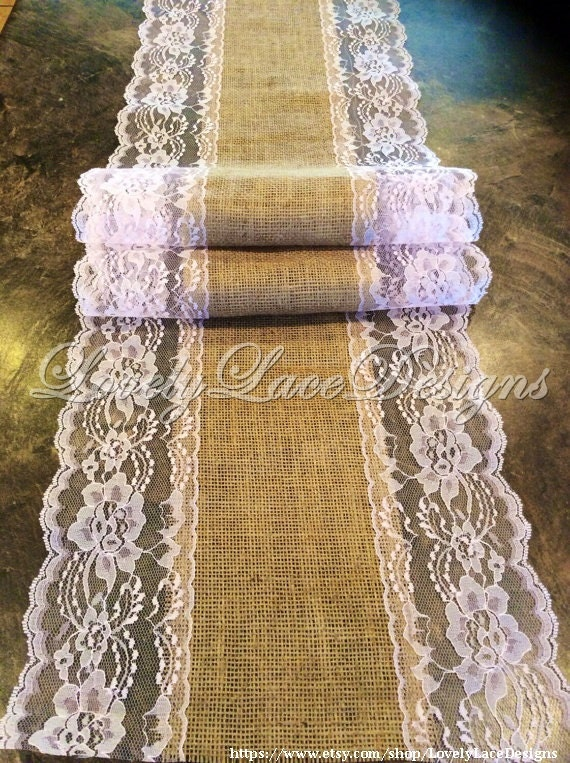 chemin de table dentelle toile de jute 21 28 par lovelylacedesigns. Black Bedroom Furniture Sets. Home Design Ideas