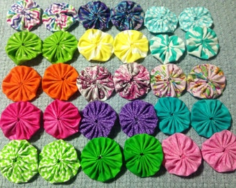 """Fabric Yo-Yo Flowers, Bright and Springy Colors and Patterns, 20 ct, 2.25"""""""