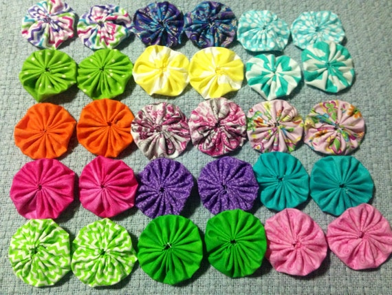 Fabric Yo-Yo Flowers Bright and Springy by SouthernGraceGift