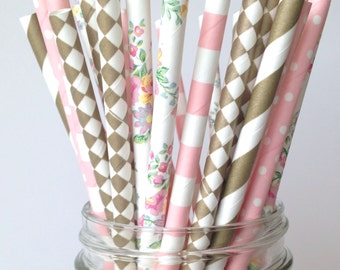 Floral Bridal Shower Decorations, Paper Straws Pink Gold & Floral Birthday Decor, Floral Mimosa Bar Straws Bubbly Bar Straws