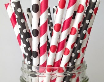 Pirate Party Straws: Red and Black Paper Straws in Polka Dots and Stripes