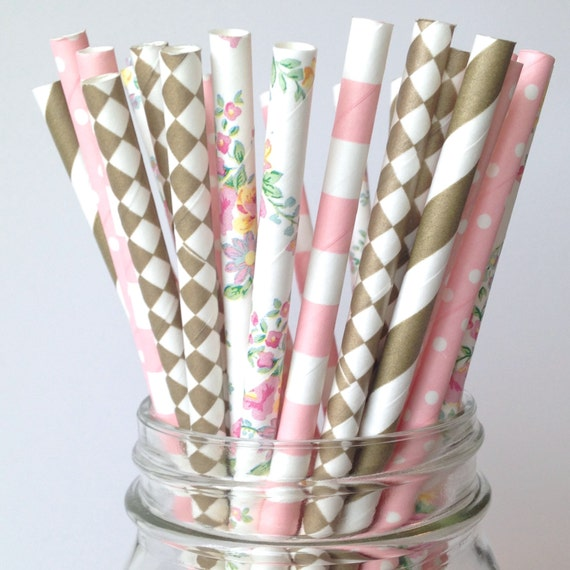 floral paper straw