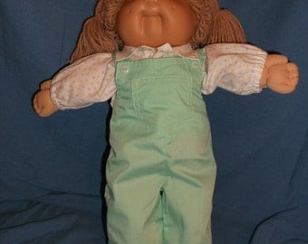 "Handmade Cabbage Patch Doll Clothes. Bib Overalls and Shirt for 14""-16"" Cabbage Patch Kid"