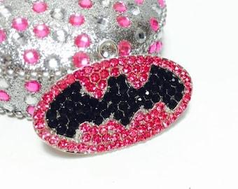 Batgirl Batman Super Hero Rhinestone Pendant Chunky Necklace Beads