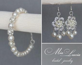 Wedding Jewelry Set, Swarovski Pearl Bridal Jewelry Set, White Pearl Bridal Earrings Bracelet Set,  Wedding set art 95-1 Giorno Meraviglioso