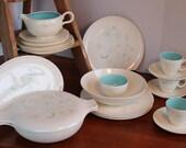 Atomic Dinnerware Dish Set, Turquoise Teal, Fuchsia Flowers, Mid Century Taylor Smith, Taylor Summertime Pattern, Set of 24