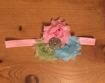 Pastel pink, green, and blue shabby flower headband