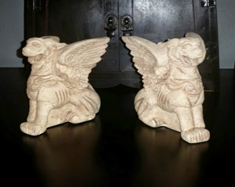 Pair of Primitive Collection Gargoyle Votive Candle Holders