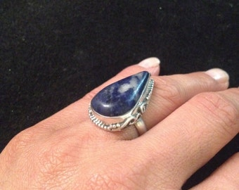 Vintage Sodalite Stone Southwestern Style Sterling Silver Ring