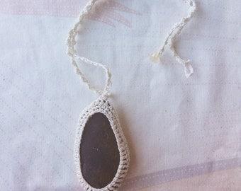 Black Crochet Stone Statement Necklace