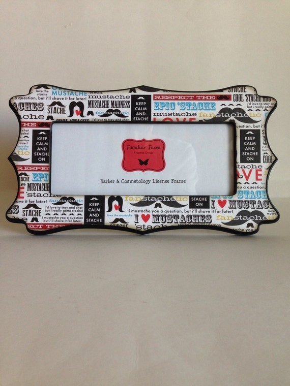 Barber & Cosmetology License Frame mustache quote print 8 1/2