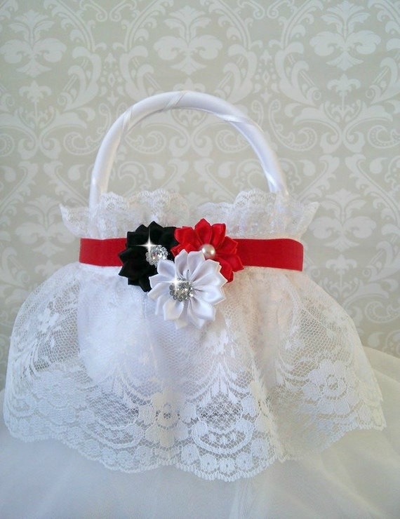 How To Make A Lace Flower Girl Basket : White lace flower girl baskets red and black
