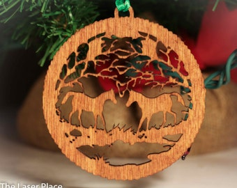 I love horses Christmas ornament for Horse lovers laser cut personalized ornament