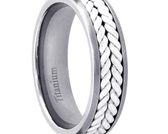 Titanium 6mm Band Duo Sterling Silver Rope Inlay Men's Eternity Wedding Ring