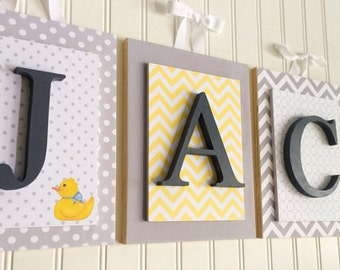 Nursery letters, Gray and Yellow Nursery, Gray and yellow Nursery Letters, Custom Nursery Letters, Custom Wood Letters, Boys Nursery Decor