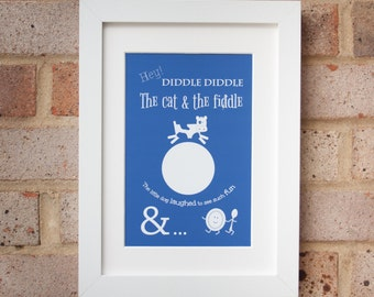 Hey Diddle Diddle - Blue - Giclée print