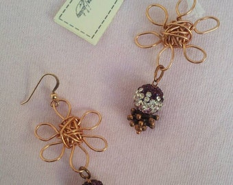 Wire and crystal earrings