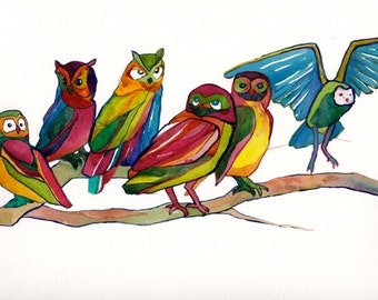 Owls 4- Print by Denise Walter