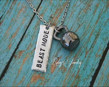 """Hand Stamped """"Beast Mode"""" Necklace Jewelry Personal Trainer, Workout, Exercised, Weightlifting, Kettlebell Charm, Kettle bell charm"""