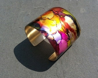 Trendy Wide Brass Cuff Bracelet Colorful Statement Jewelry OOAK Designer Original Adjustable