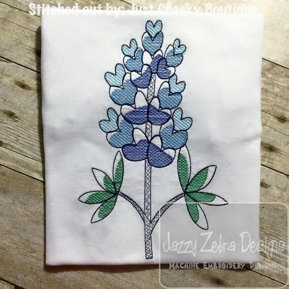 Blue Bonnet Sketch Embroidery Design - flower Sketch Embroidery Design - bluebonnet Sketch Embroidery Design - spring Sketch Embroidery