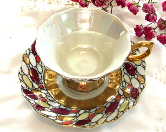 Teacup with Stained Glass Motif Vintage Gold Trimmed Tea Cup Iridescent Tea Cup