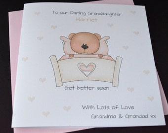 Handmade Personalised. Customised Children Girl Get Well Card Daughter Granddaughter Niece Sister Friend