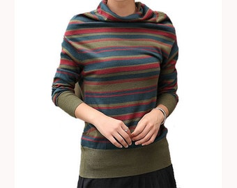 Knitwear / Blouse / Knitted sweater / Color stripe high collar comfortable pullover