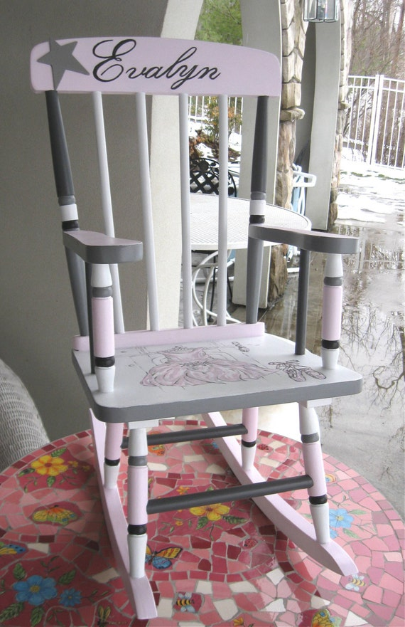 Girls Ballerina Rocking Chair, Kid's Painted Rockers, Nursery Furniture,  Pink and Gray Rockers