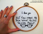 Moonrise Kingdom Love Quote - Cross Stitch - Embroidery Hoop Quote - Hoop art - Wes Anderson quotes - Wall Decor - Valentine's Day