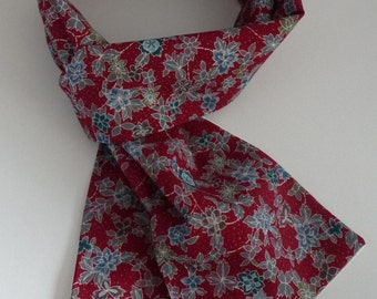 Long, Narrow, Pure Wool & Silk, Floral, Scarf